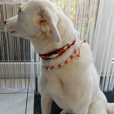 Bianca mit Kunstlederkette und Perlen Swarovskistyl