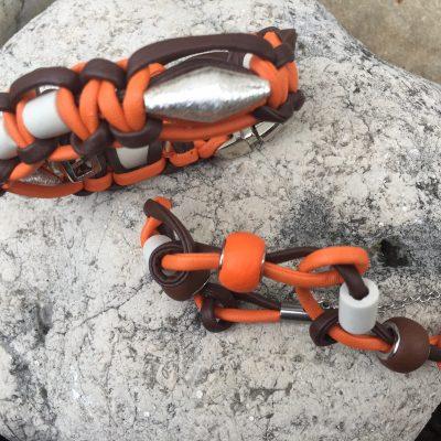 Kunstleder Halsband mit 925er SilberElement & Armband für Frauchen