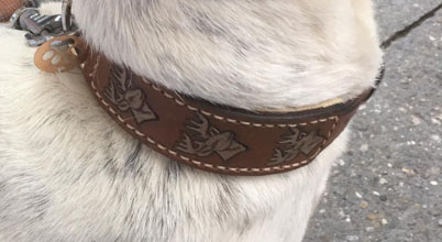 Handmade Lederhalsband punziert handgenäht natürliches Leder exklusiv pro grösse 1